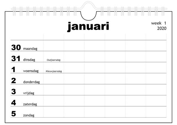 Familiekalender 2020 voor vier personen