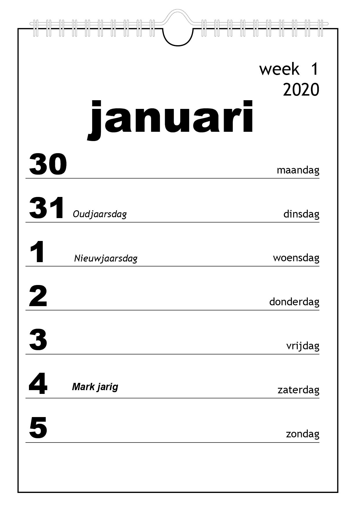 grootletter kalender