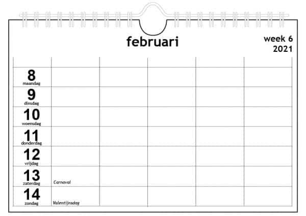 Familiekalender 2021 voor vijf personen