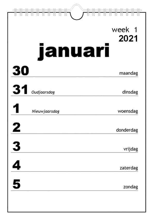 Grootletter weekkalender 2021